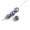 Fire polished Round 7mm Jet Gunmetal luster
